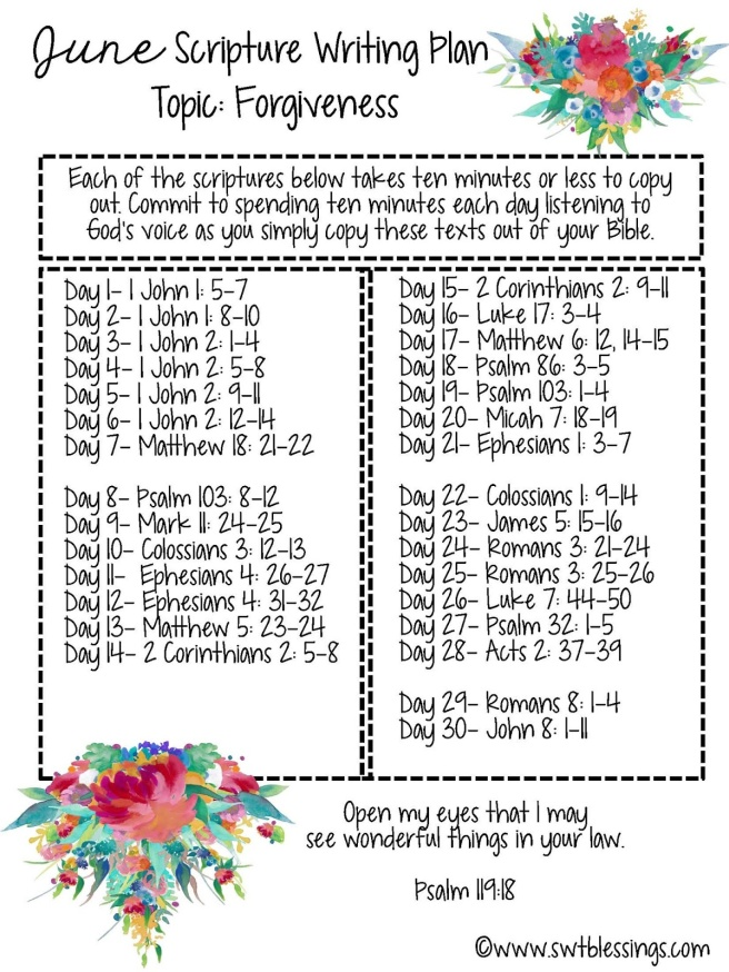 June Scripture Writing Plan English