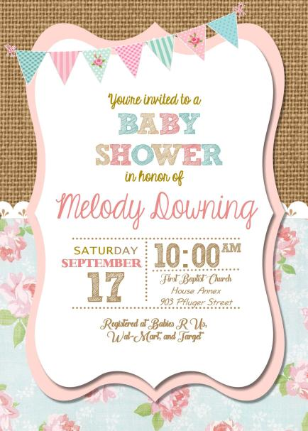 Shabby Chic Baby Invitation Final